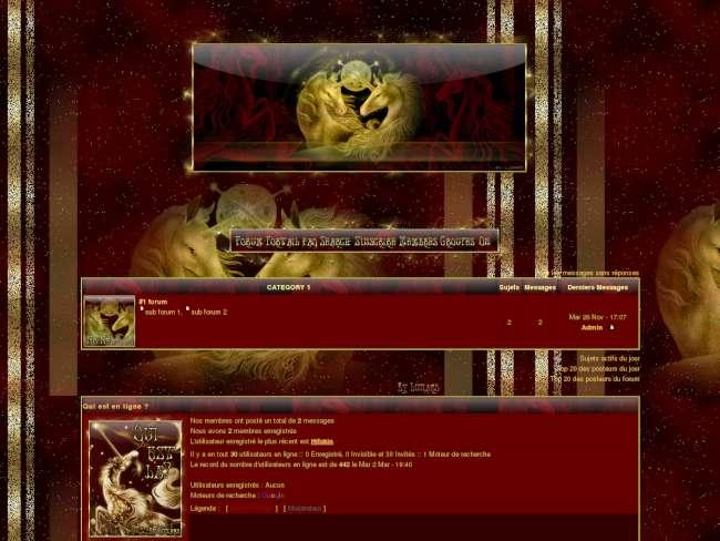 licornes rouge et or