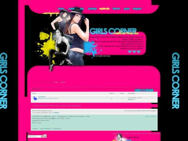 Girls Corner Pun bb/Black and Pink,Yelow Skin