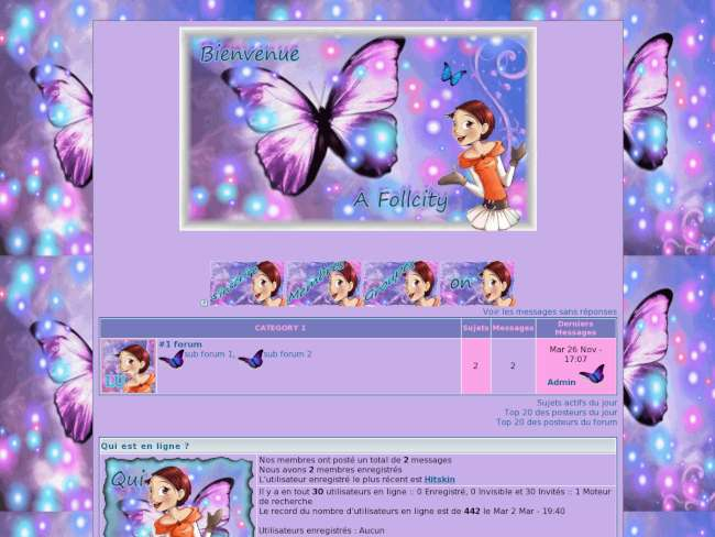 Papillon rose bleu