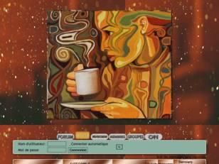 Femme boit café