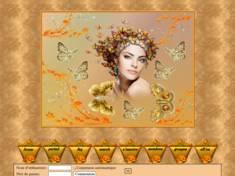 Femme et papillons d'or