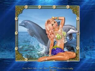 Femme avec dauphins