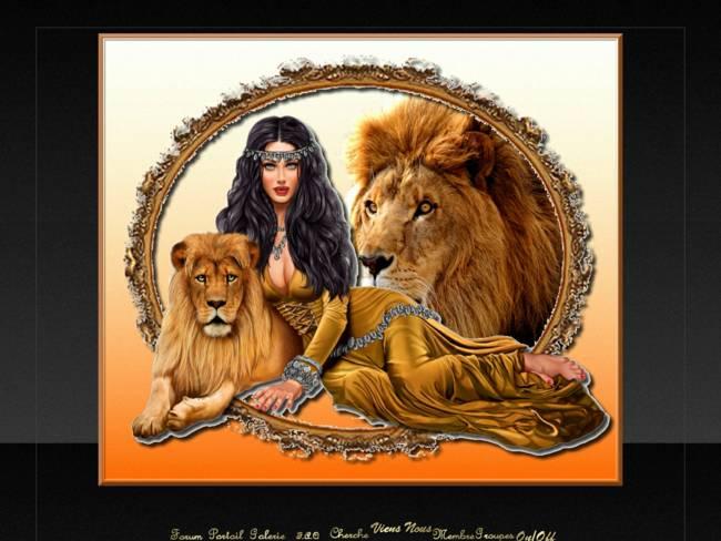 Femme et lion