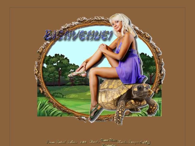 Femme sur tortue