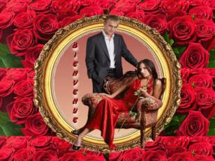 Couple parmi les roses