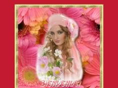 *femme aux fleurs rose*