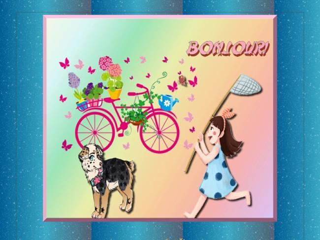 Fille & vélo & chien